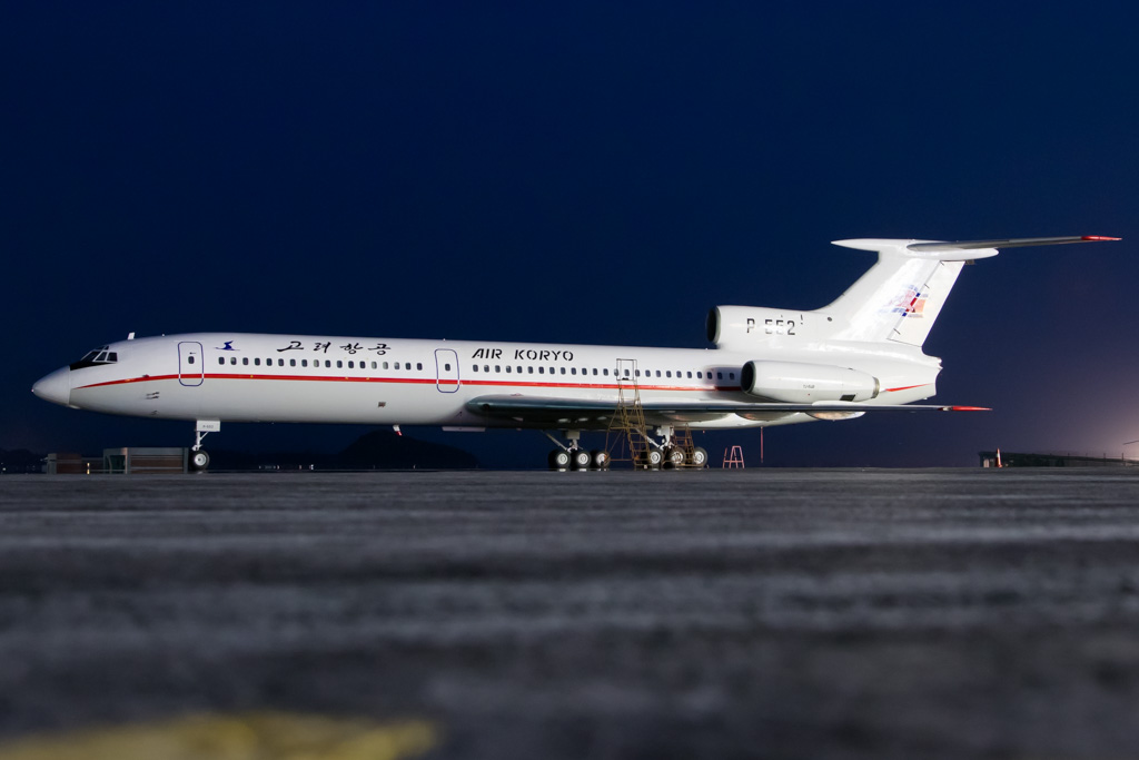 Air Koryo Tu-154 at Night