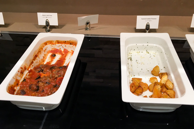 Hot Meals in The Emirates Lounge Tokyo Narita