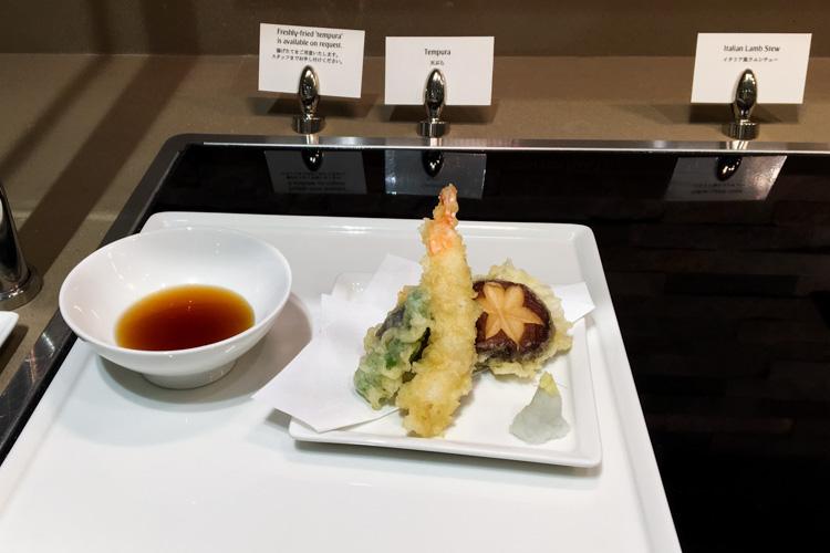 Tempura in The Emirates Lounge Tokyo Narita