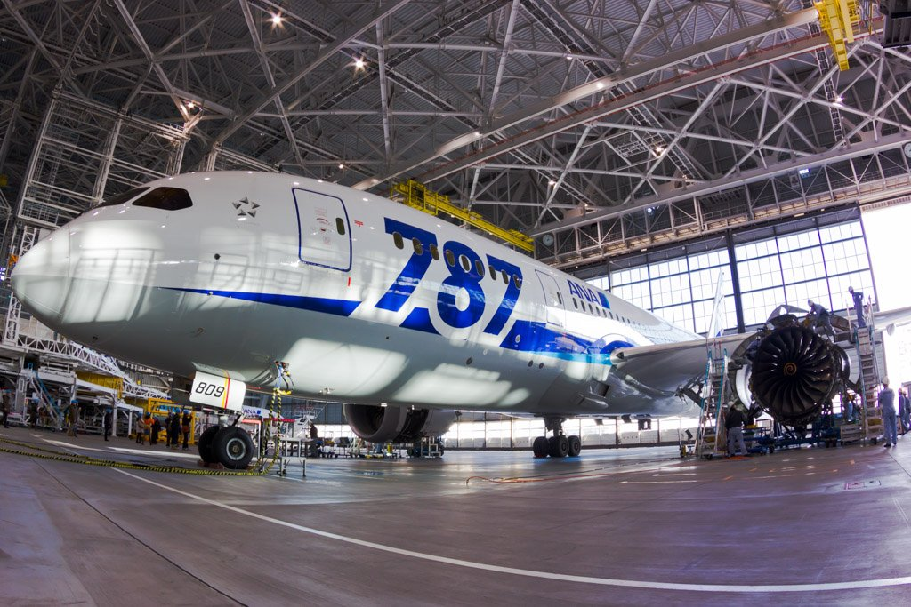 Boeing 787 Under Maintenance in the ANA Hangar