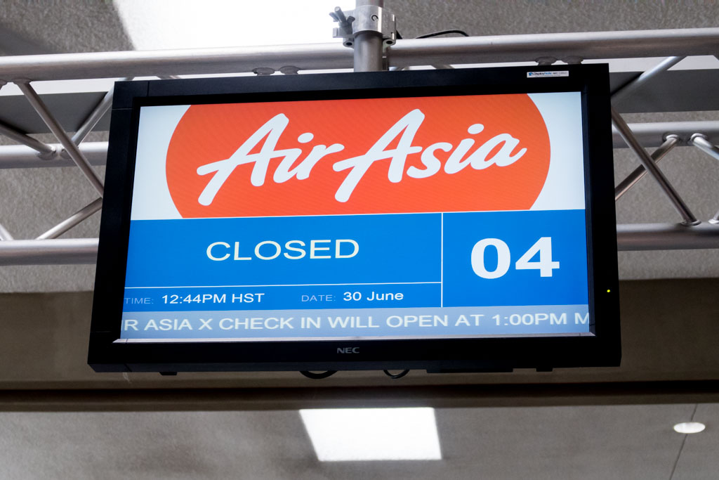 Honolulu Airport Check-in Counter AirAsia X Closed