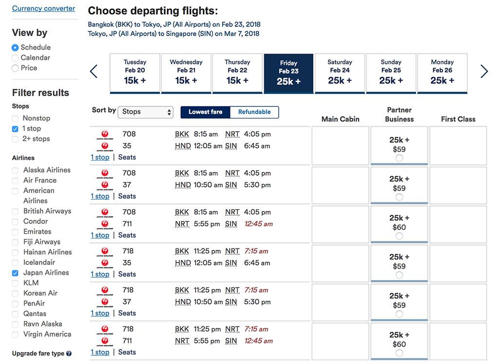 Japan Airlines Booking via Alaska