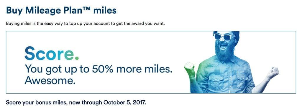 Alaska Offering Up to 50% Bonus on Purchased Miles Until October 5, 2017