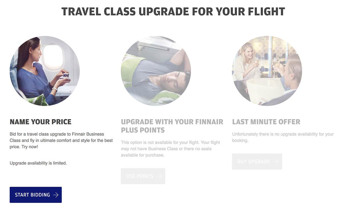 Finnair Travel Class Upgrade