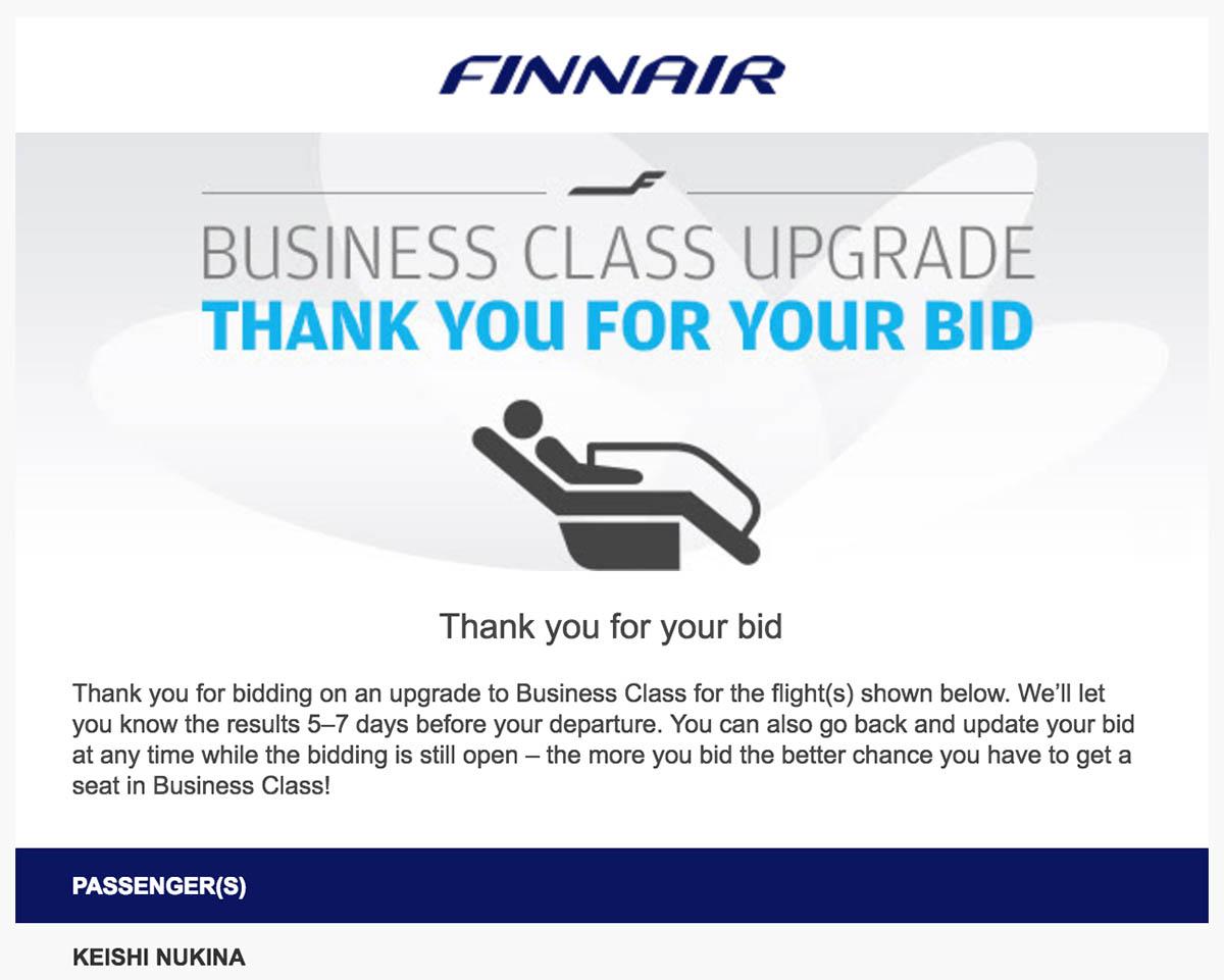 Email Confirmation Finnair Bid