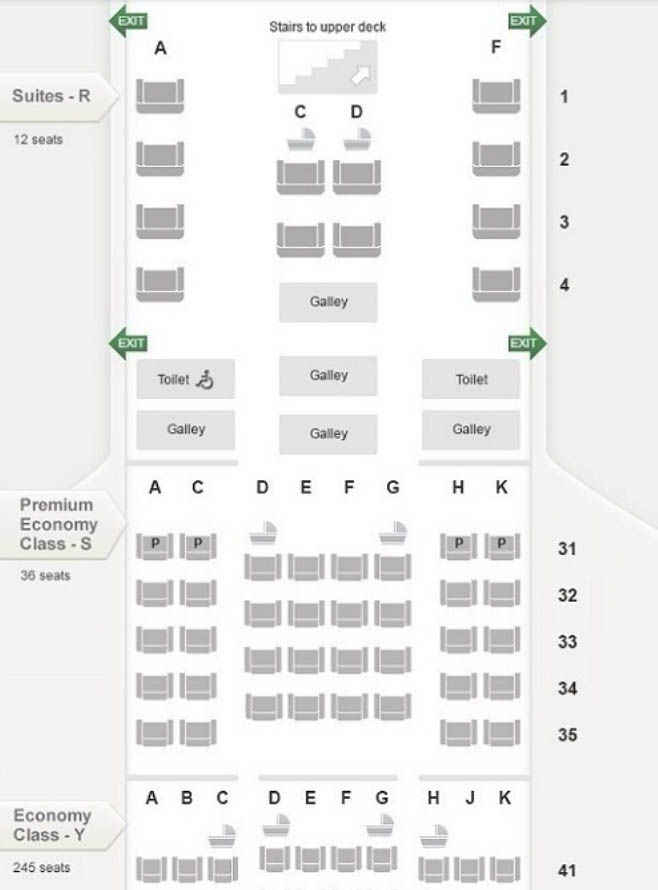 Singapore Airlines A380 Main Deck Seatmap
