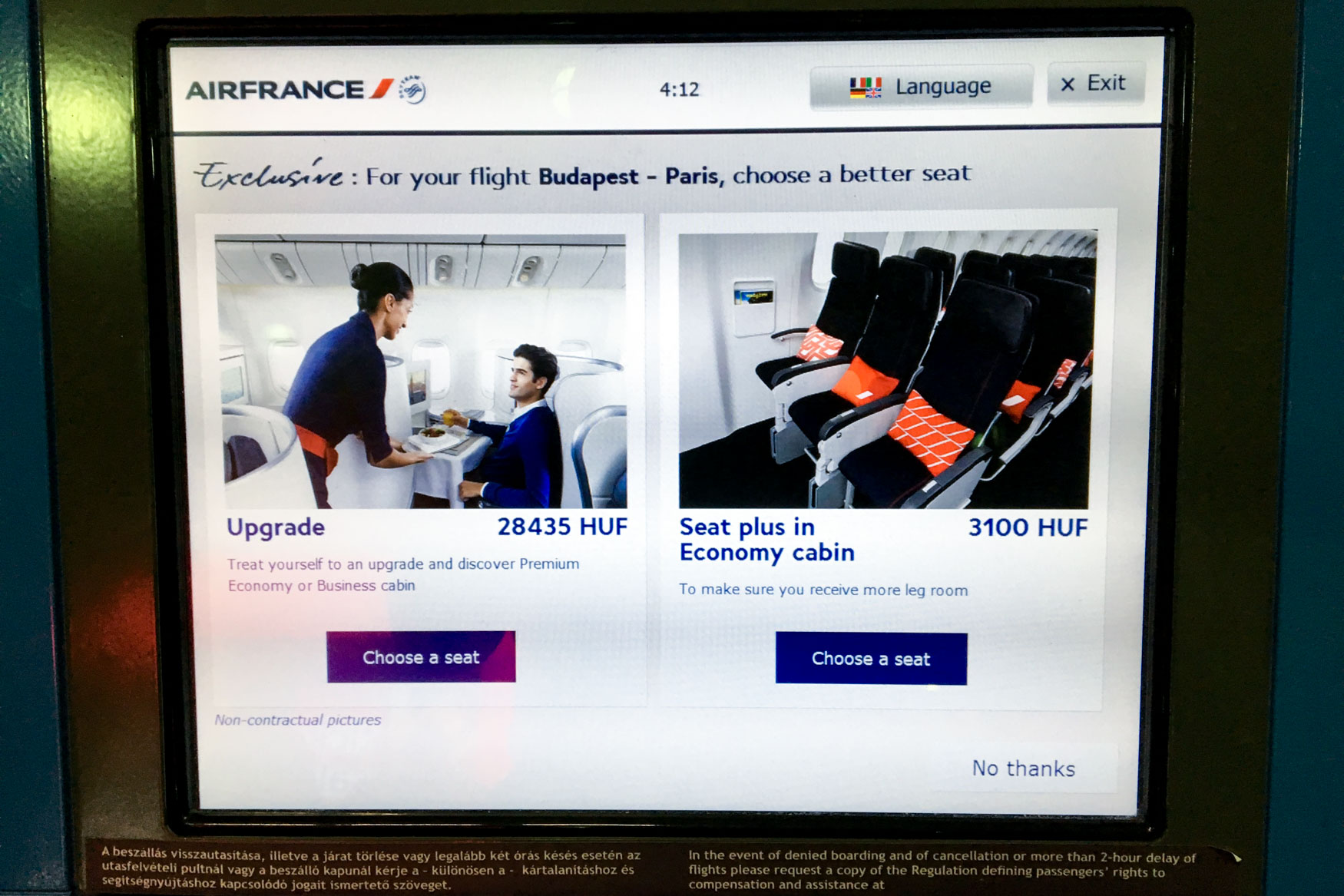 Air France Upgrade Offer