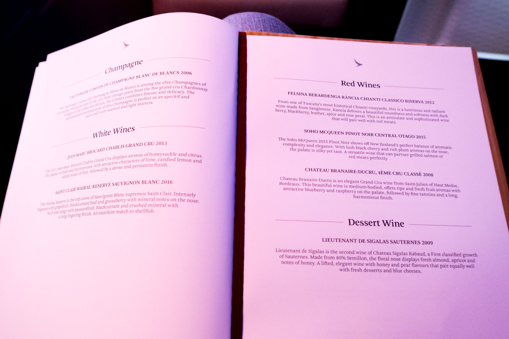 Cathay Pacific First Class Wines