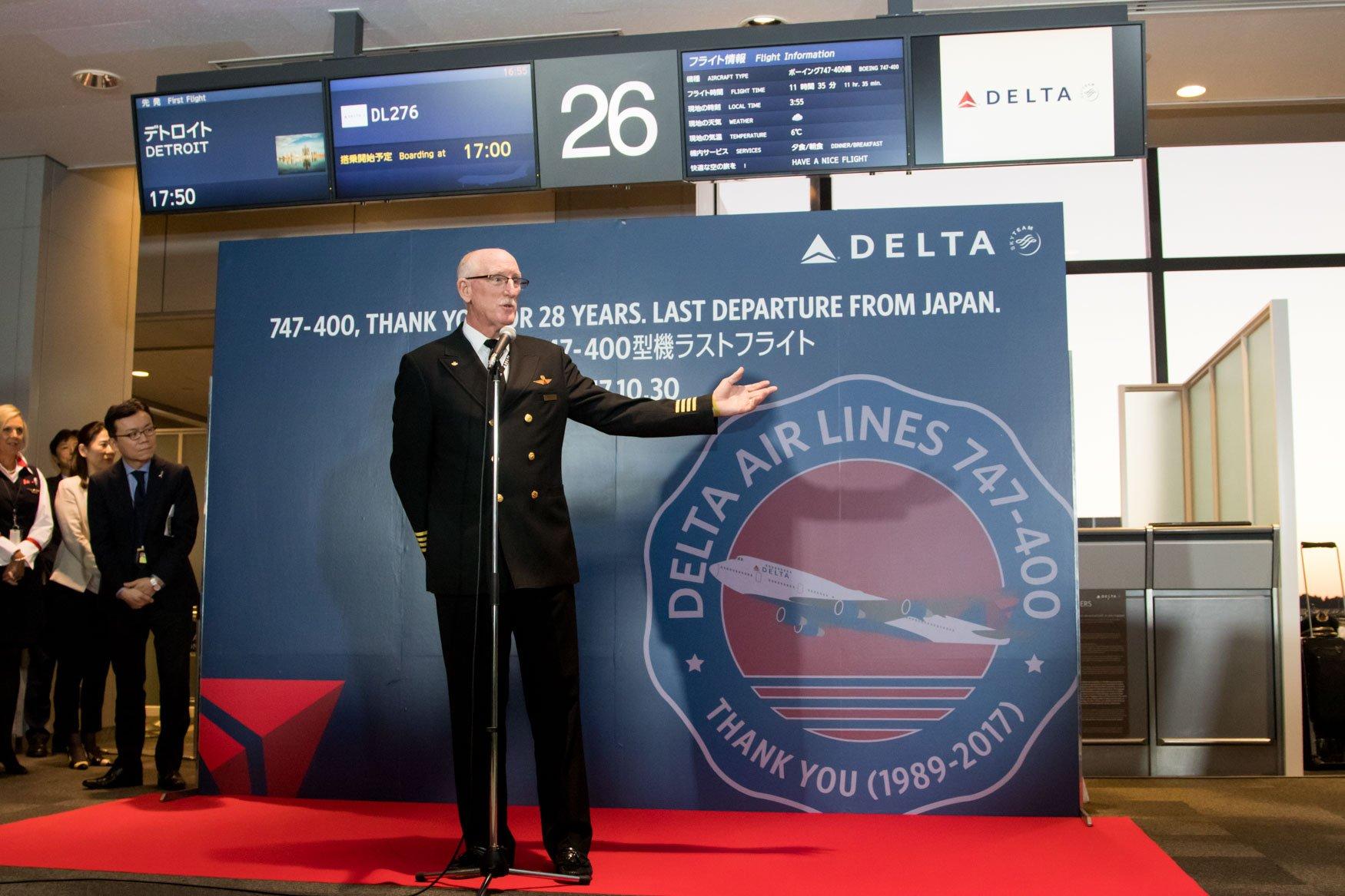 Delta 747 Last Tokyo Captain Speech