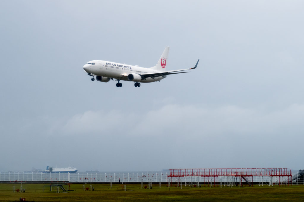 JAL 737-800 Landing at Nagoya Airport