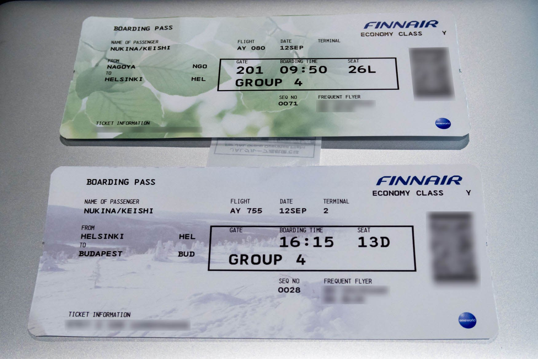 Finnair Boarding Passes