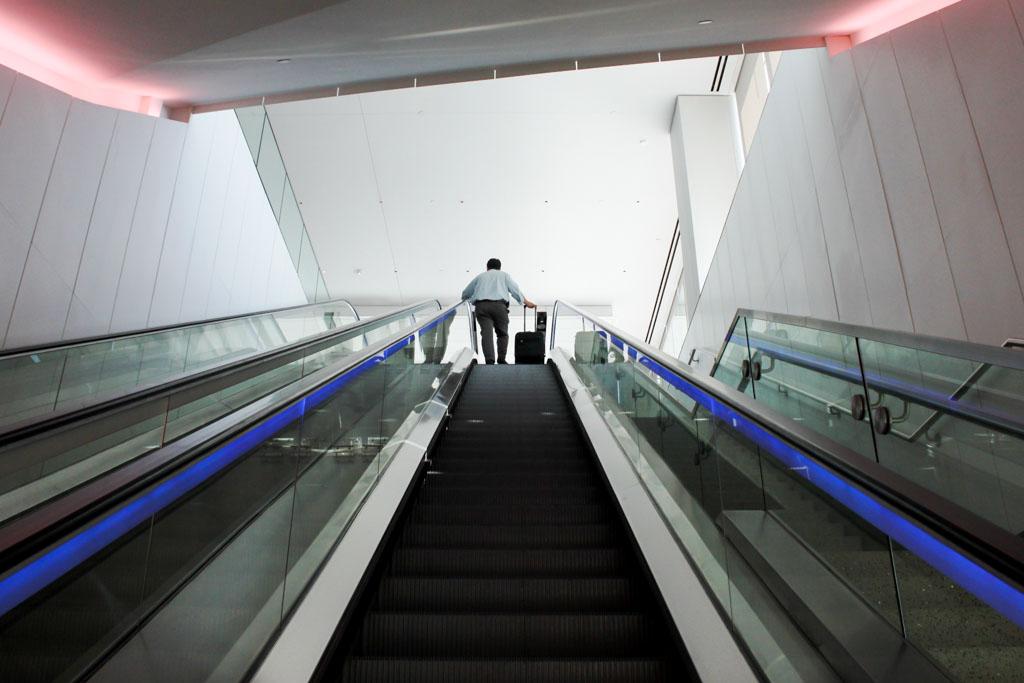 Escalator to United Club Los Angeles