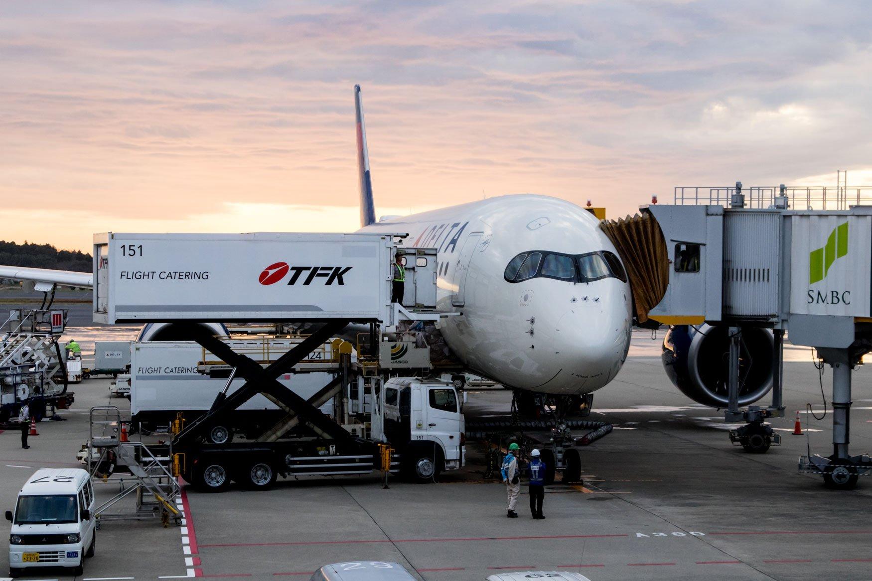 Delta Air Lines A350 at Gate at Narita
