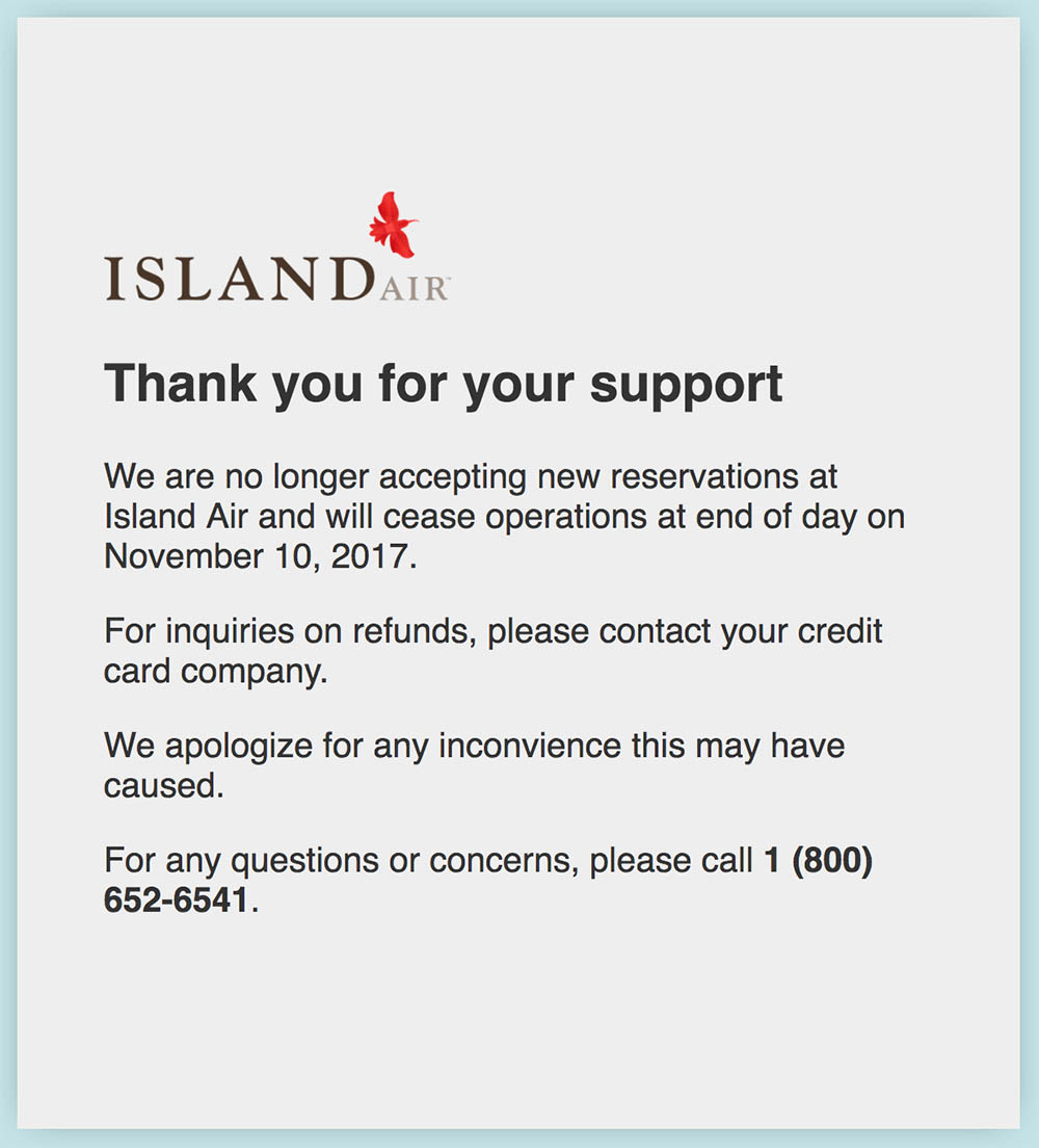 Island Air Bankruptcy Ceases Operations