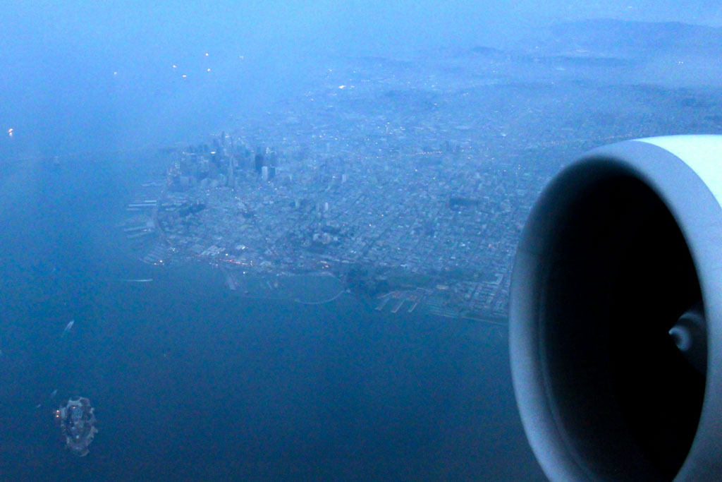 Overflying San Francisco Downtown