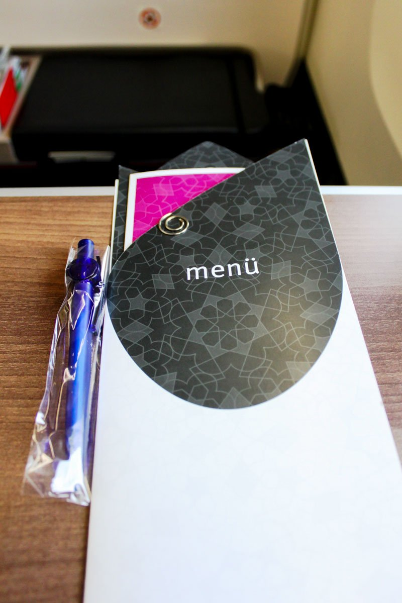 Turkish Airlines Business Class Menu