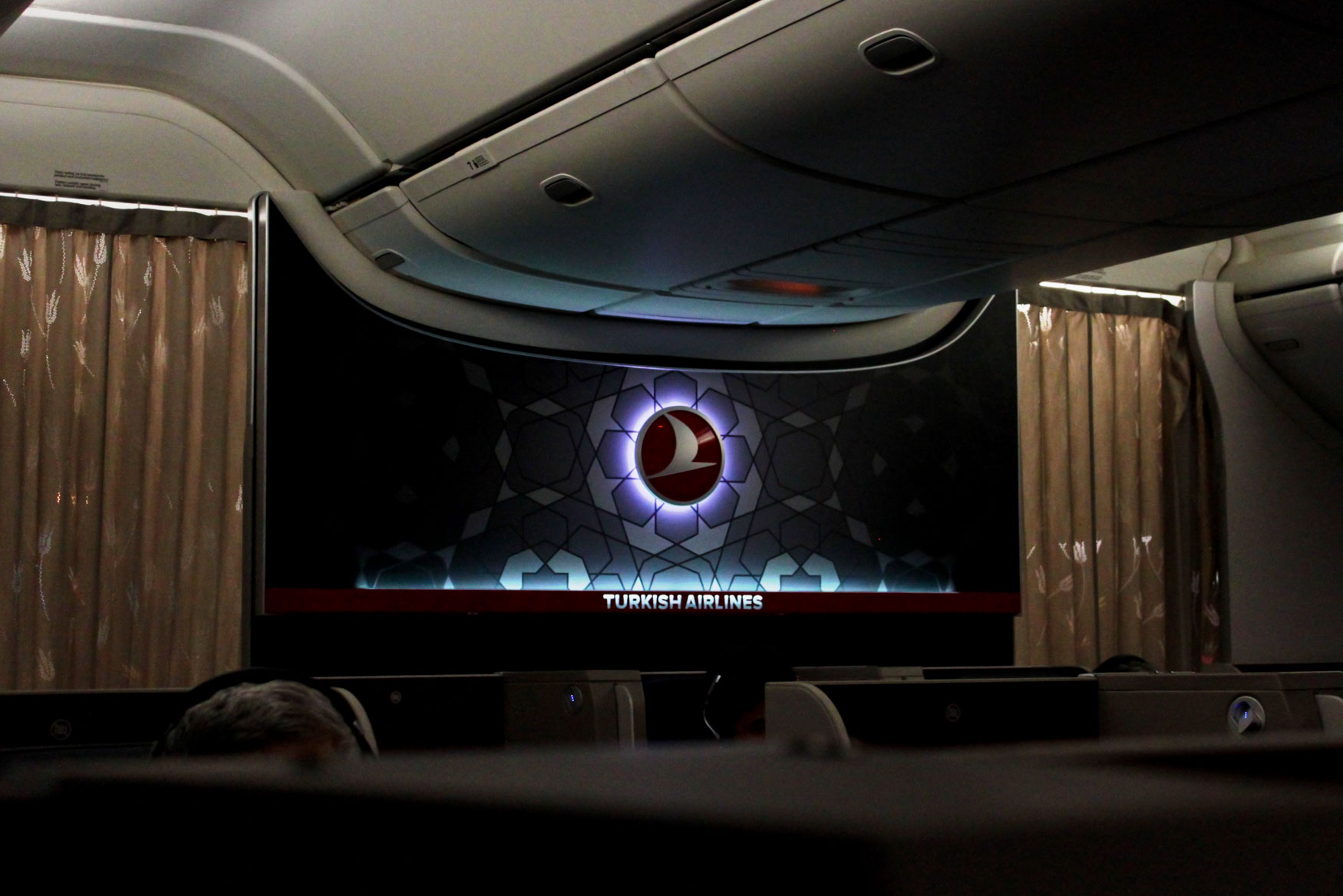 Dark Turkish Airlines Business Class Cabin