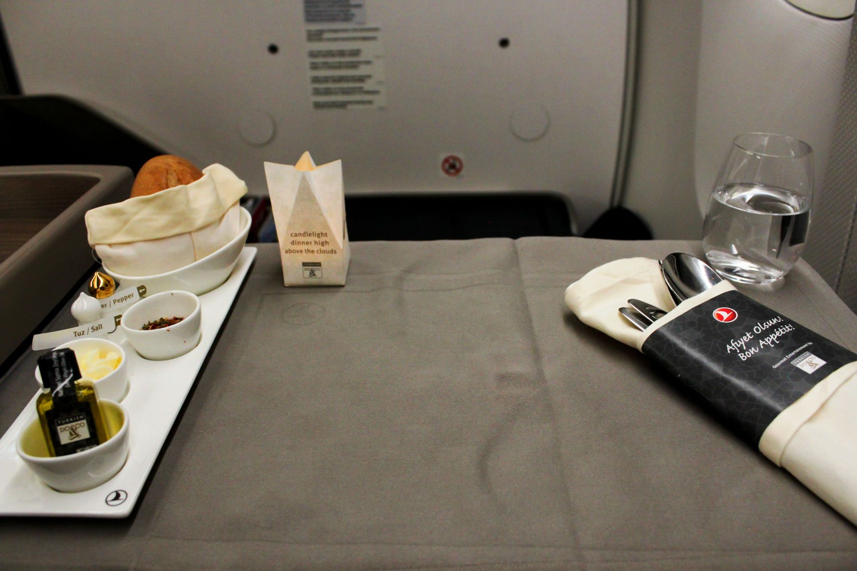 Turkish Airlines Business Class Table Setup