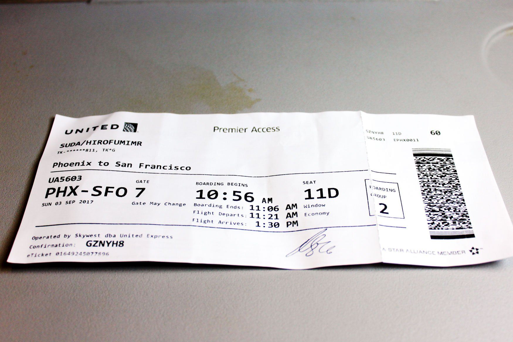 United Express Boarding Pass