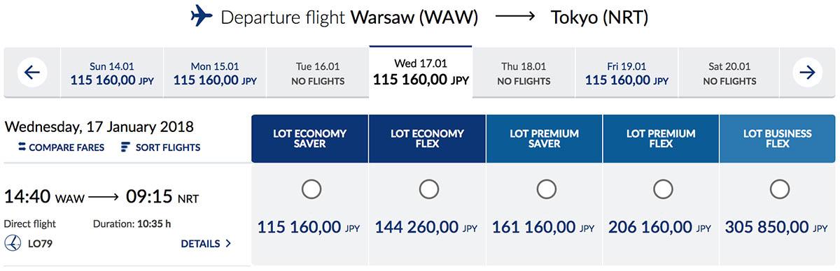 LOT Warsaw Tokyo Schedule