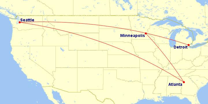 Delta Farewell 747 Domestic Tour Map