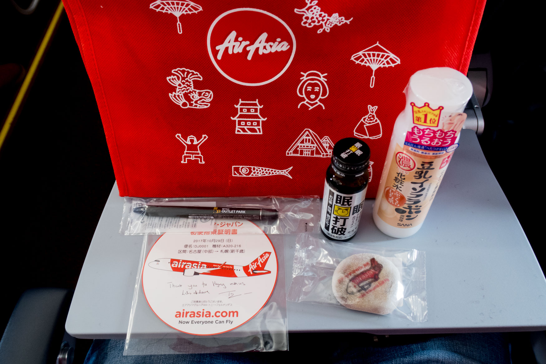 AirAsia Japan Inaugural Flight Gift Bag Contents