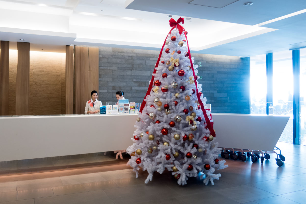 Christmas Tree at Tokyo Narita Airport JAL Sakura Lounge