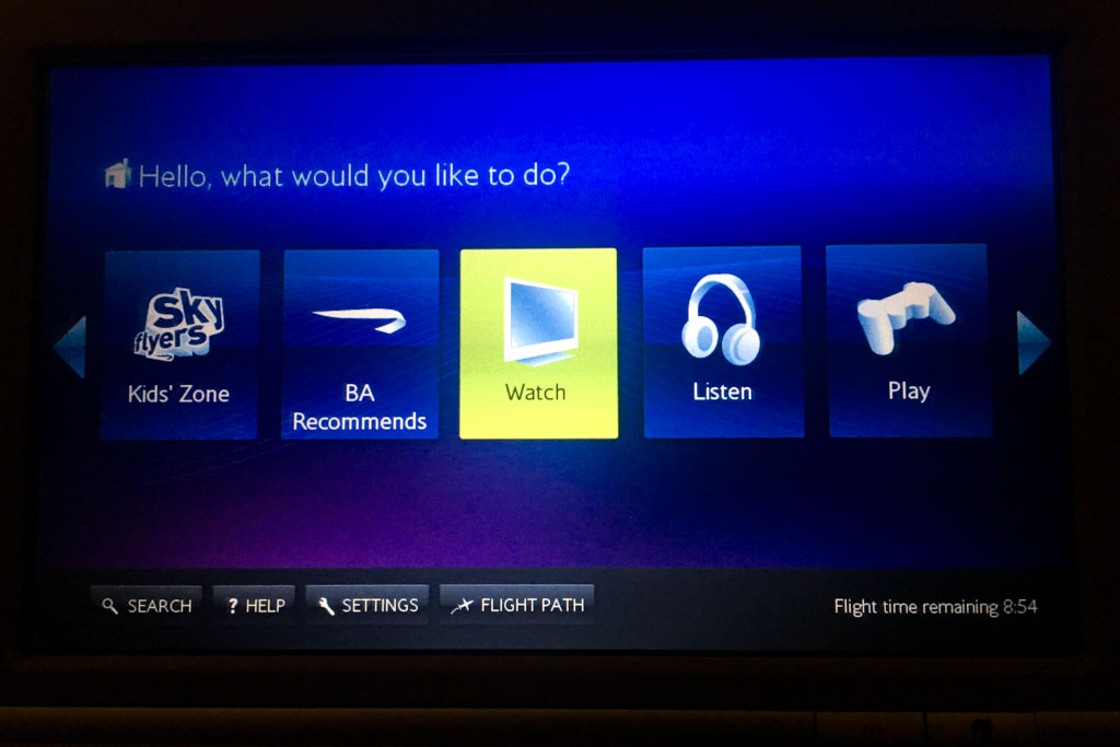 British Airways IFE Main Menu