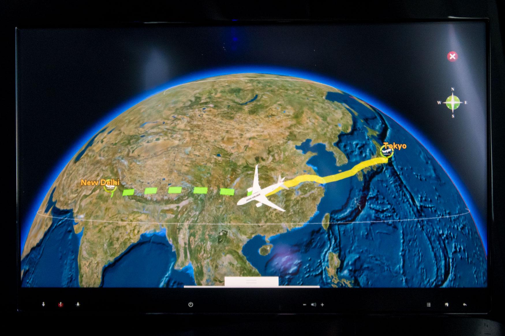 JAL Flight from Tokyo Narita to Delhi