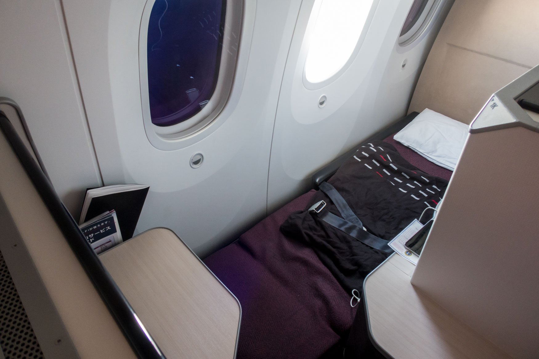 Japan Airlines 787-8 Apex Suite Turned into a Bed