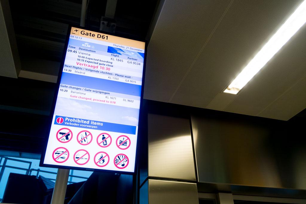 KLM Flight 1845 to Vienna Delayed