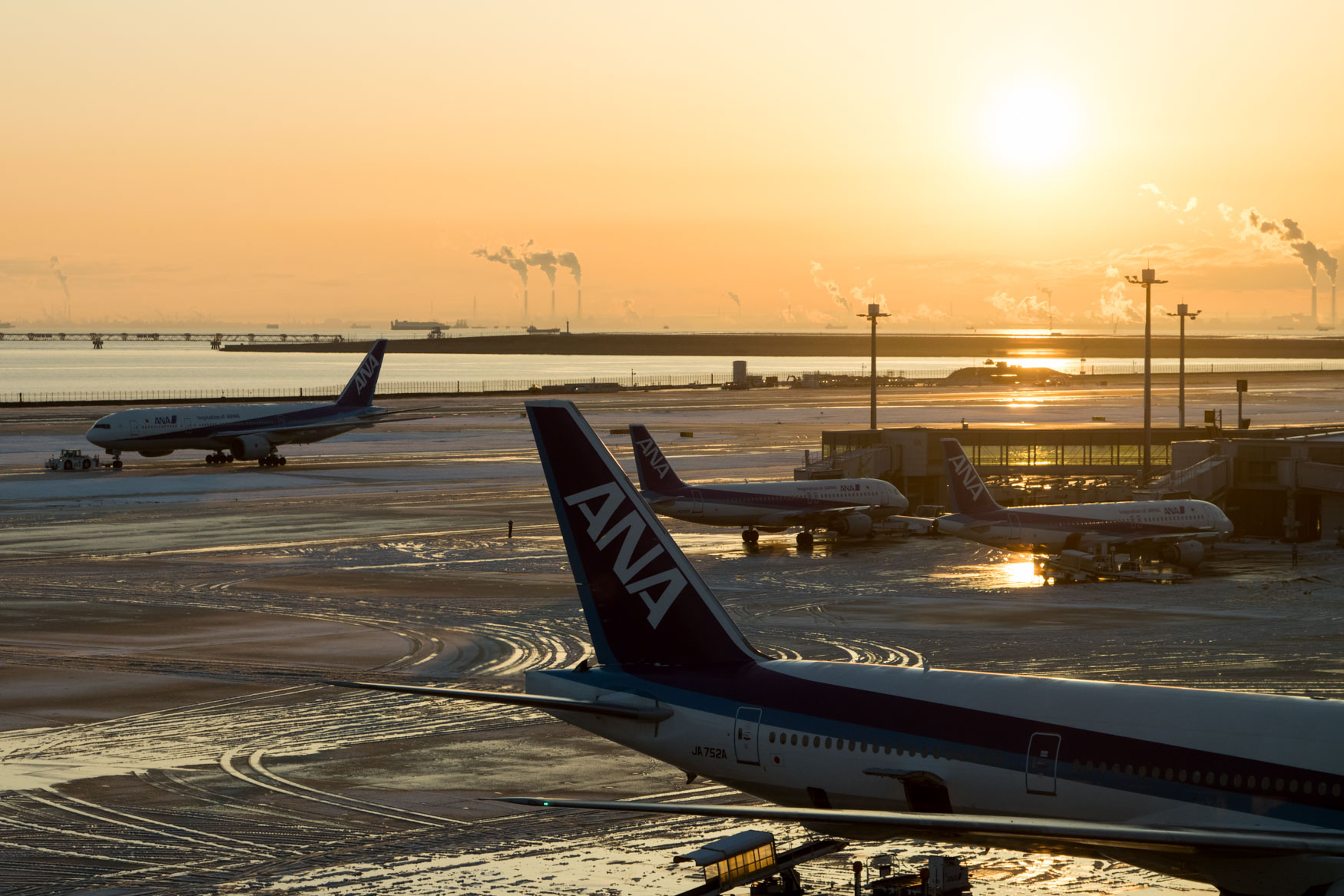 Sunrise at Snowy Haneda Airport