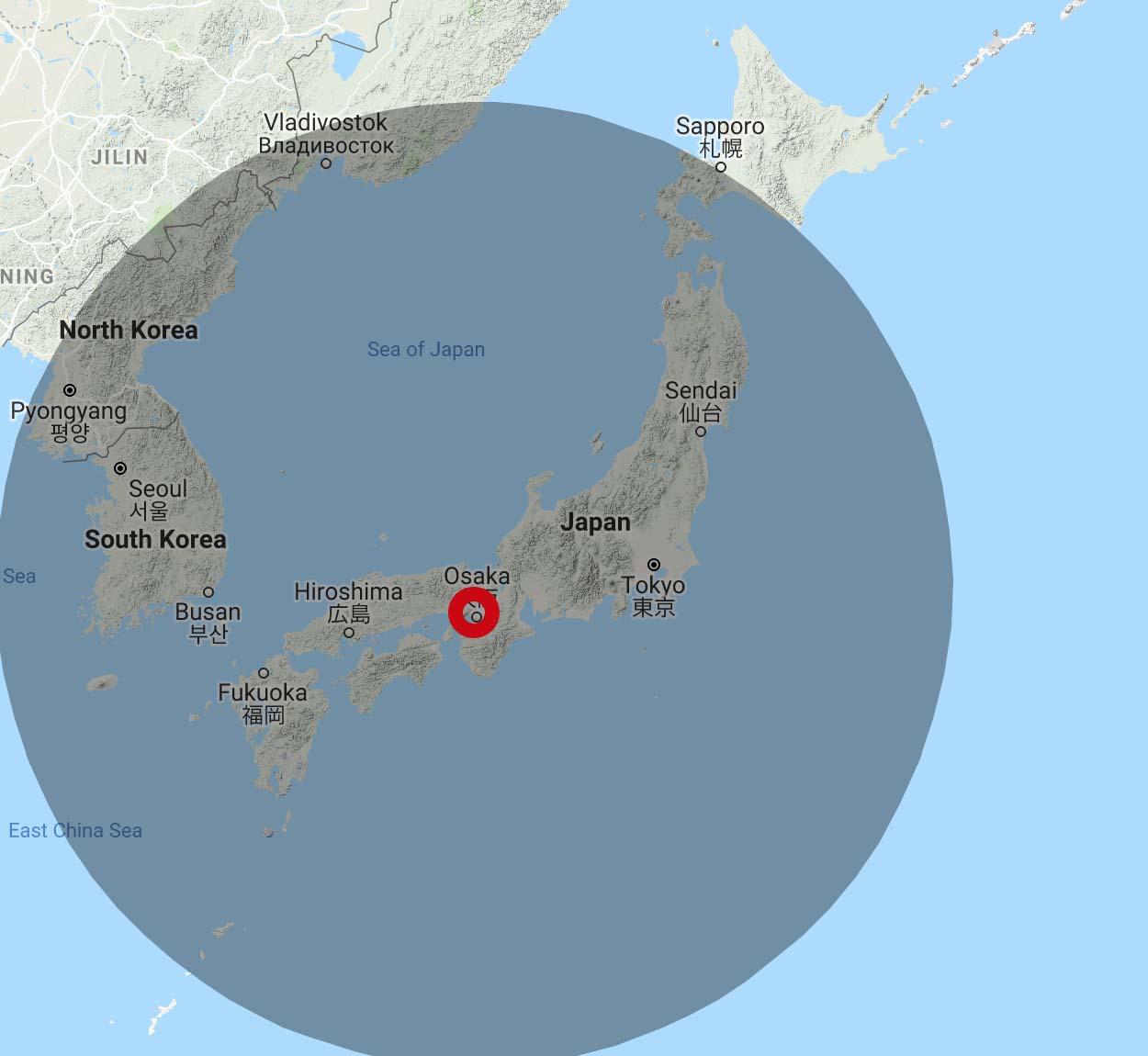 JAL 4,500 Avios Range from Osaka