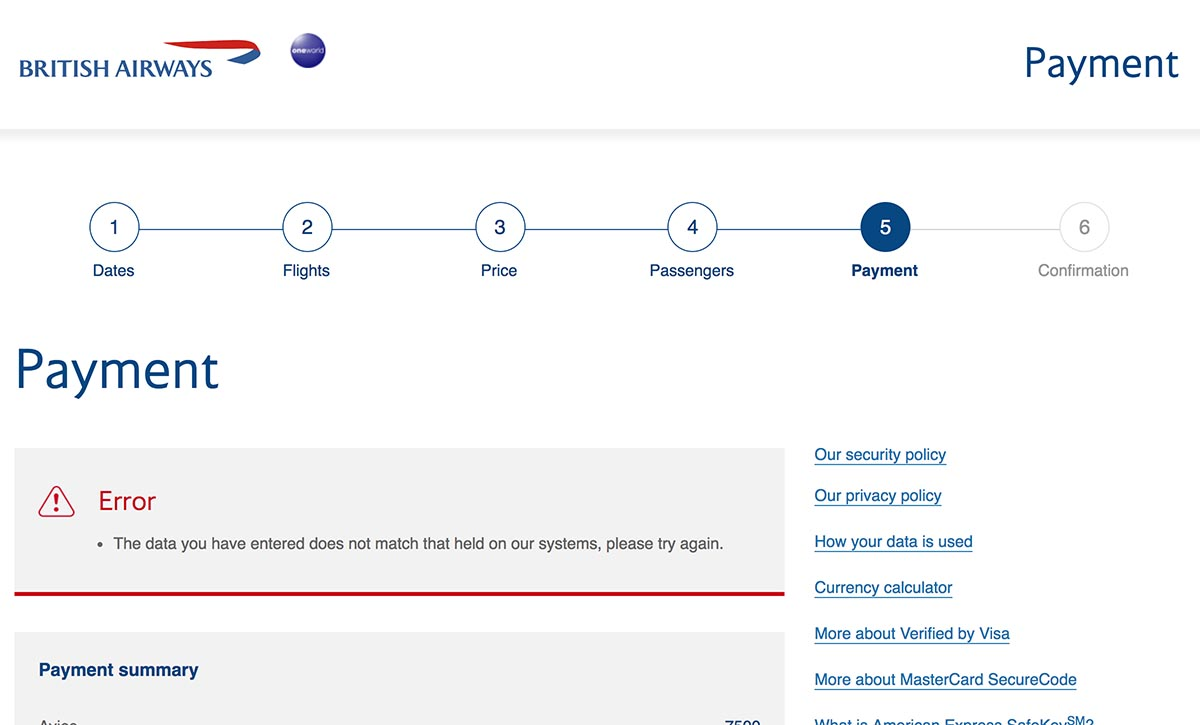 Error Booking JAL Domestic Award Ticket with Avios