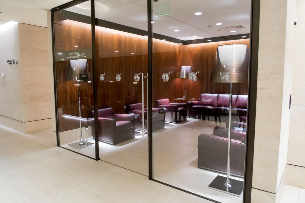 Smoking Room in Qatar Airways Arrivals Lounge