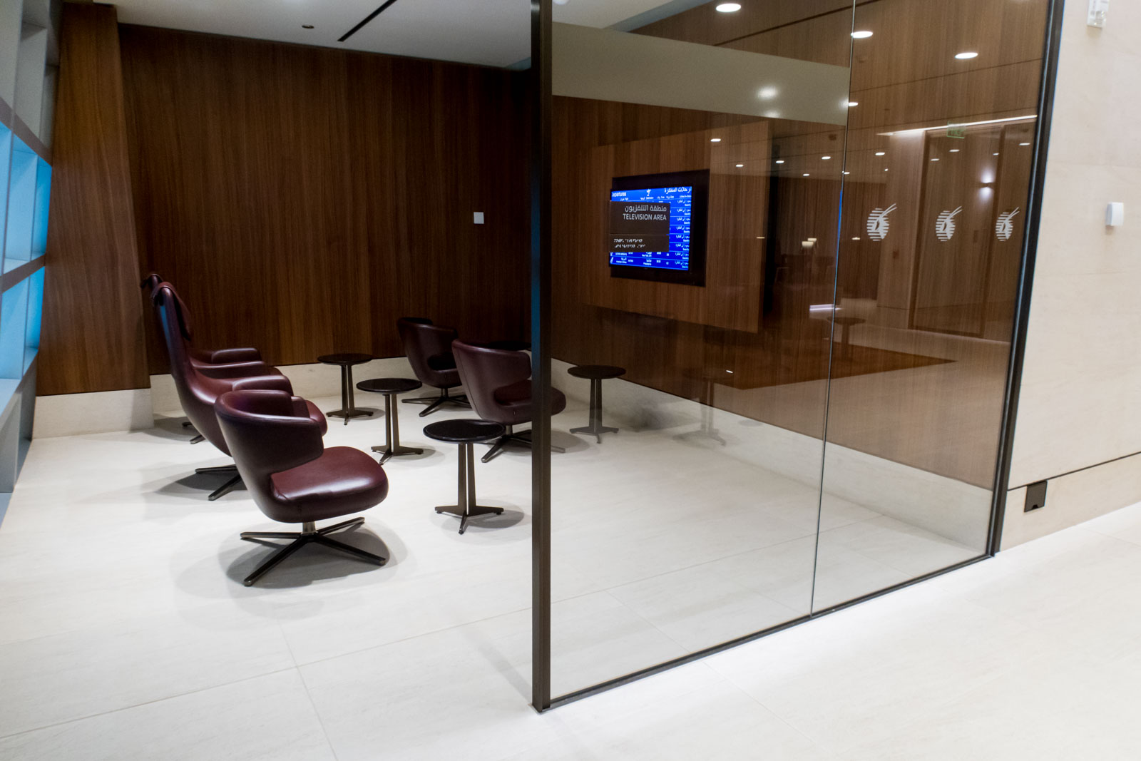 TV Room in Qatar Airways Arrivals Lounge in Doha