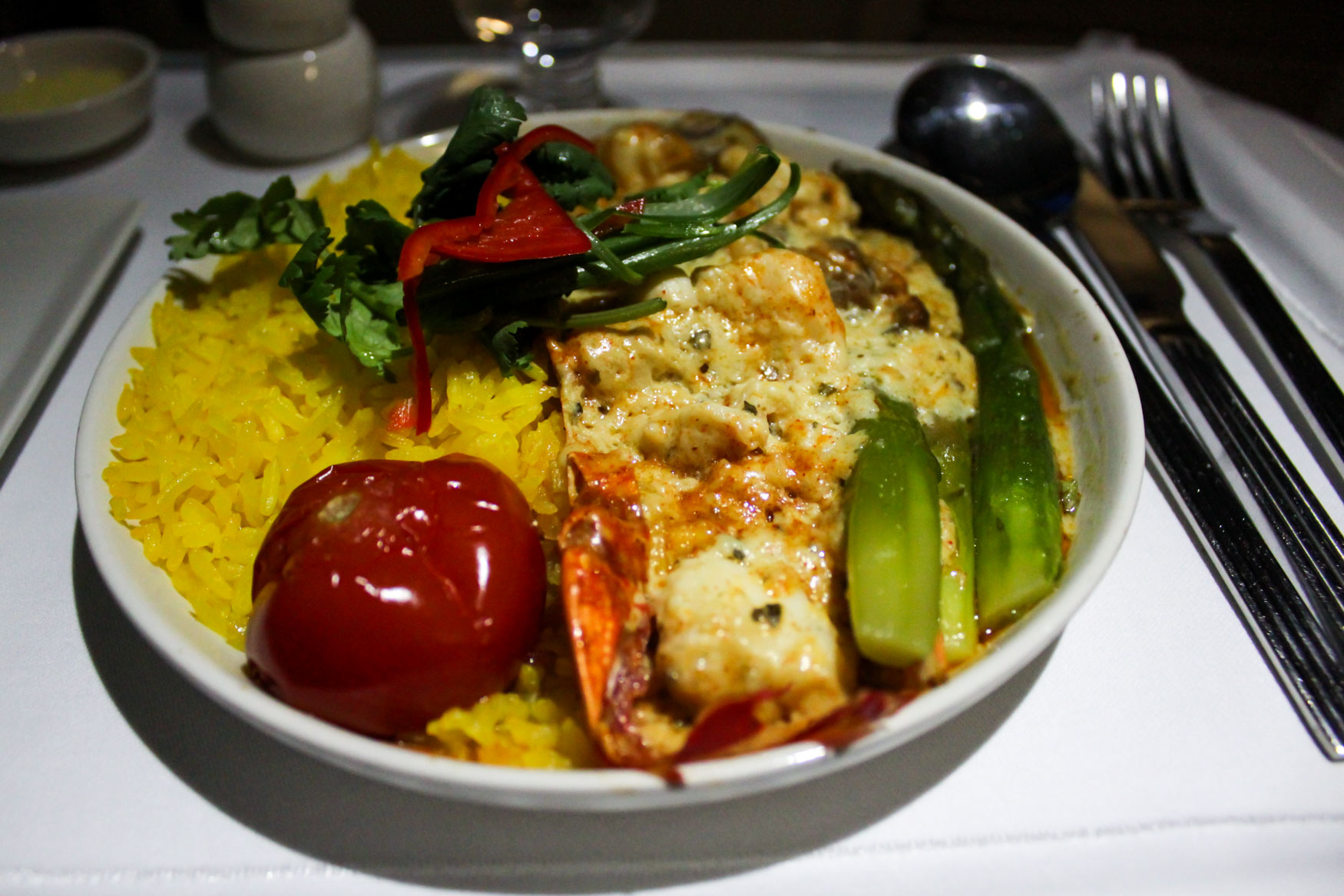 Singapore Airlines Business Class Meal Lobster-Termidor