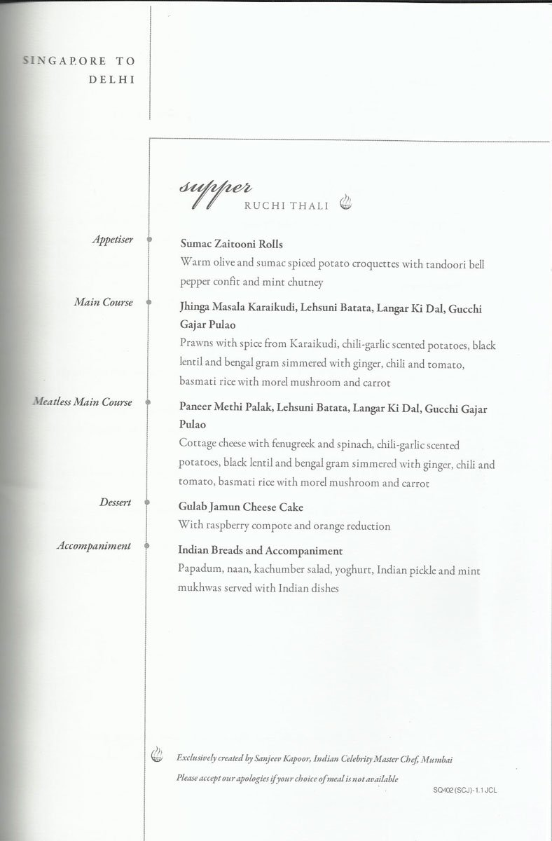 Singapore Airlines Business Class Meal Menu