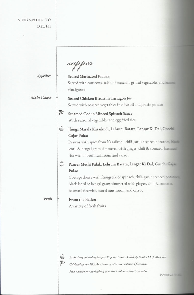 Singapore Airlines Business Class Dining Menu