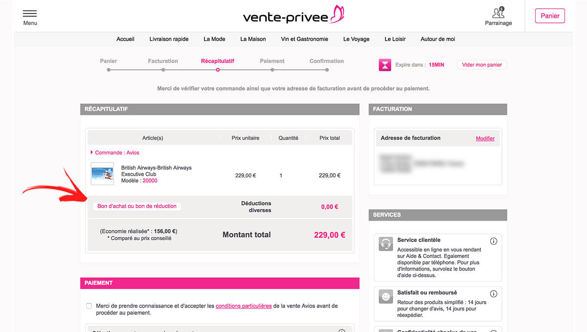 Add Discount Coupon Vente-Privee