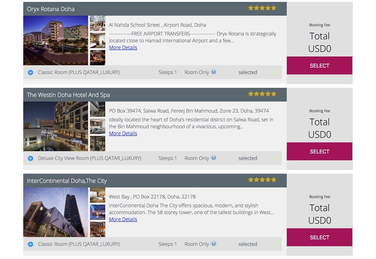 Qatar Airways Free Transit Hotel Selection