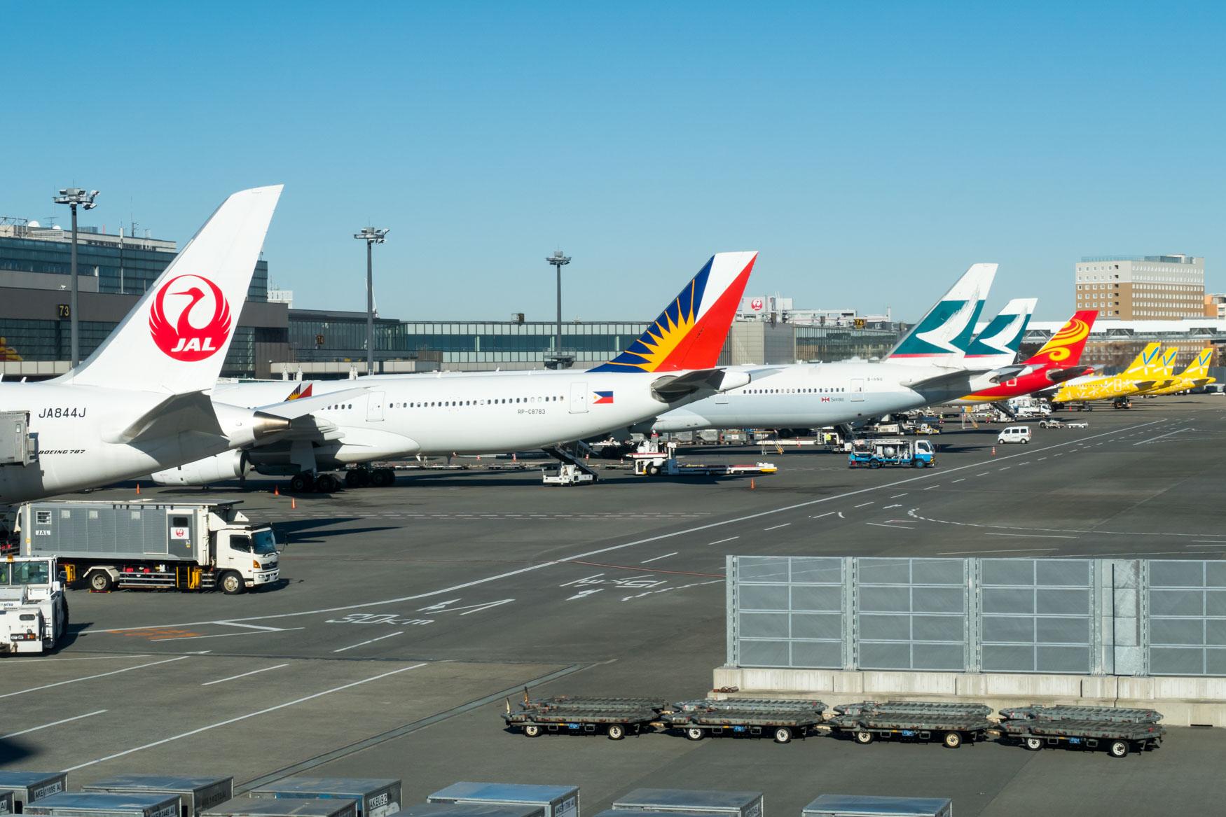 Line-Up of Aircraft at Tokyo Narita's Terminal 2