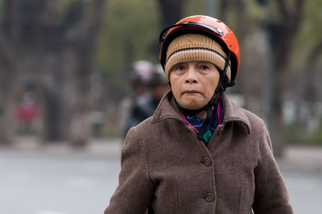 Vietnamese Lady in Helmet