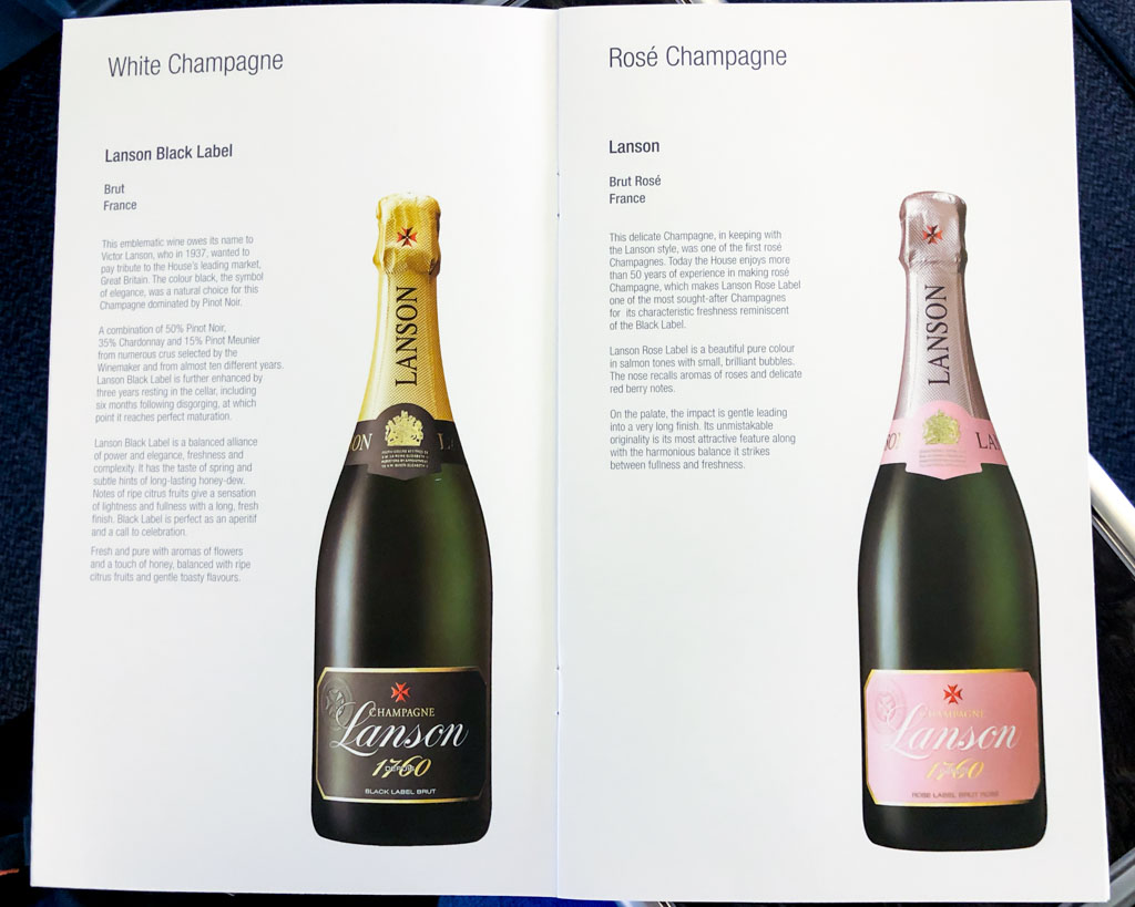 Qatar Airways Business Class Champagne