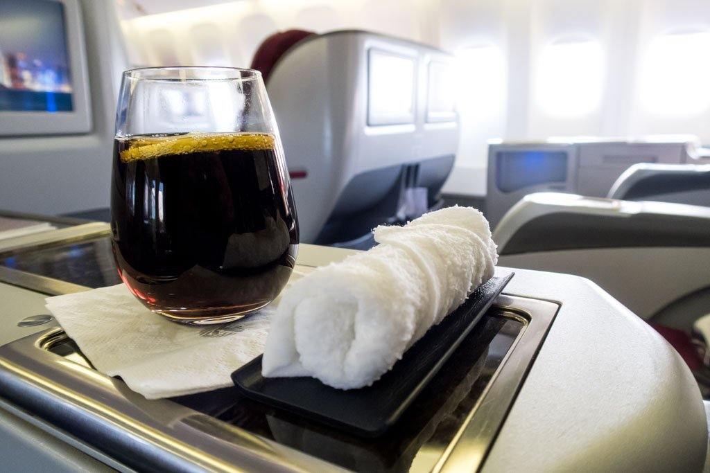 Pre-Departure Drink and Towel Qatar Airways