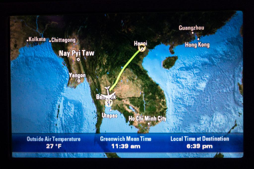 Arriving in Hanoi from Bangkok on QR