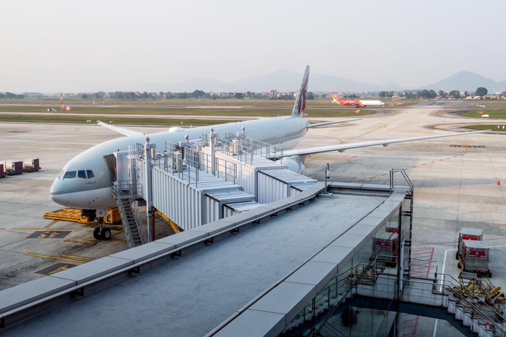 Qatar Airways 777 at Gate in Hanoi