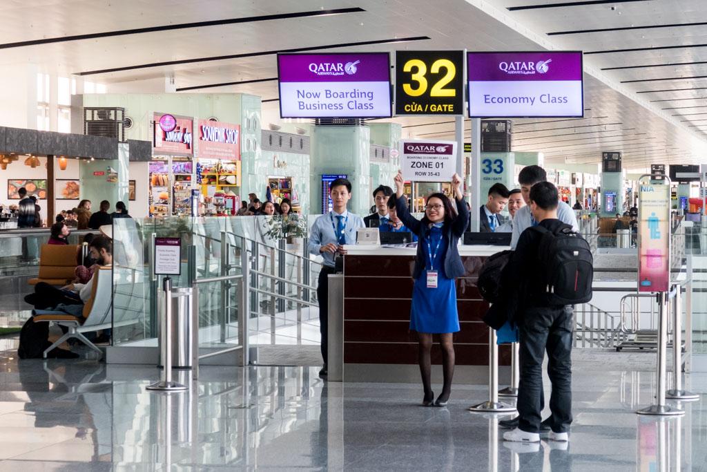 Qatar Airways Boarding in Hanoi