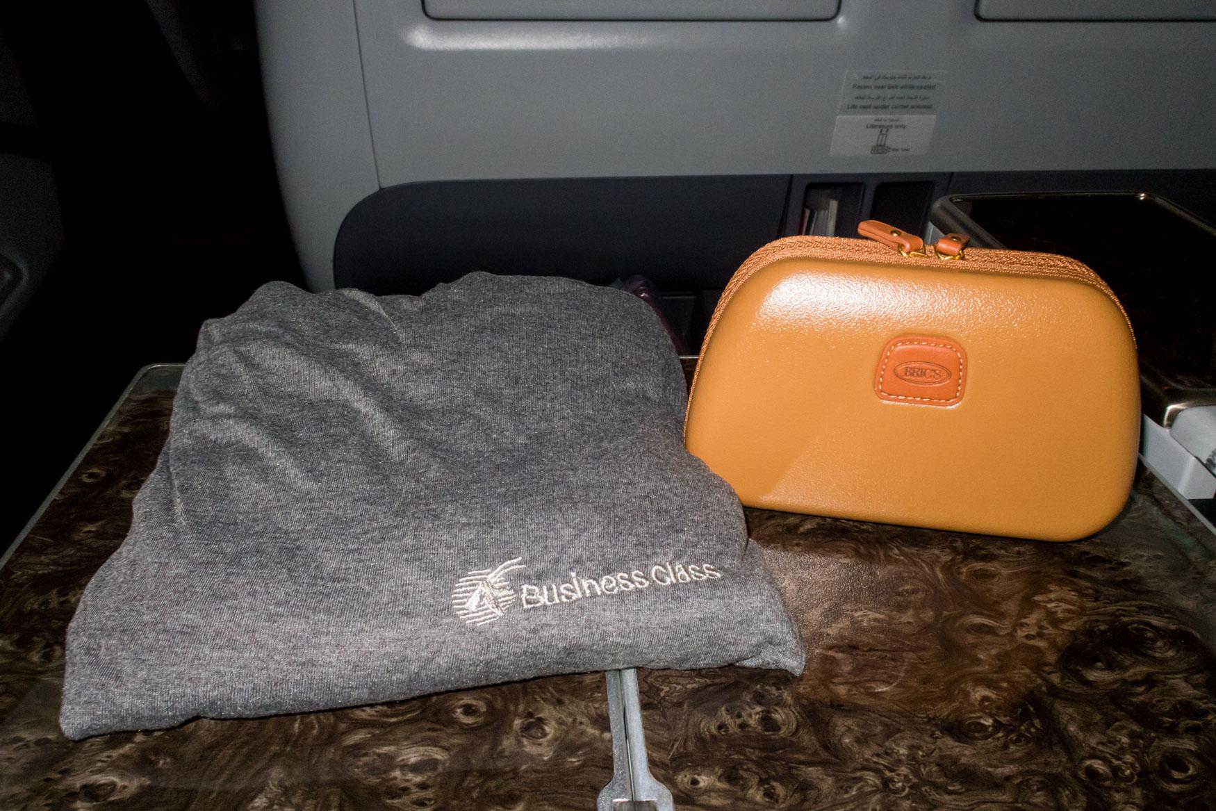 Qatar Airways Pyjamas and Amenity Kit