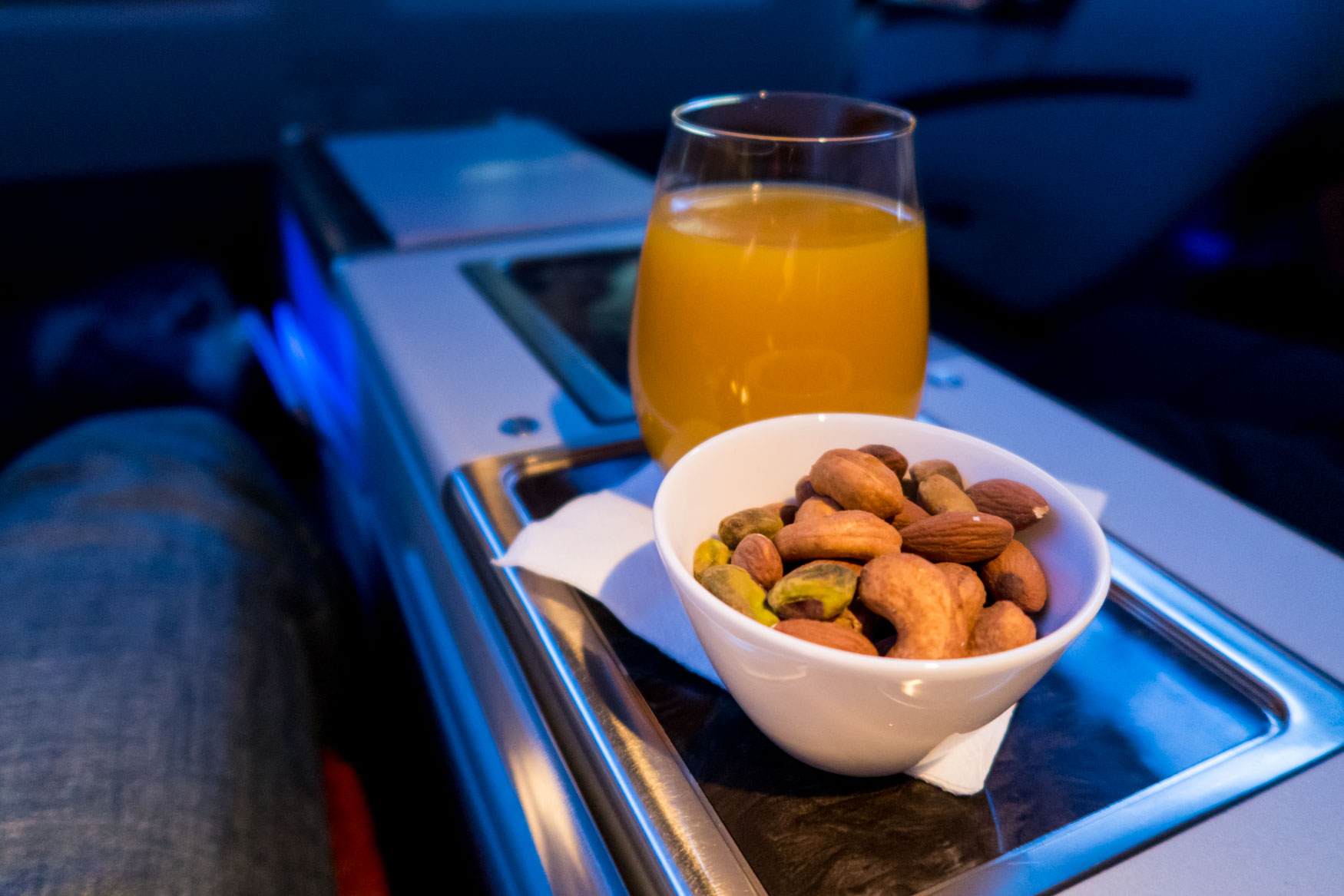 Nuts and Mango Juice Onboard Qatar Airways